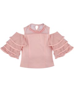 BLOUSE PINK PEARL TRIM TULLE LAYERS SLEEVE