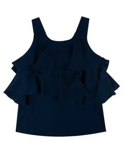 BLOUSE NAVY CHIFFON STRAPS & LAYERS