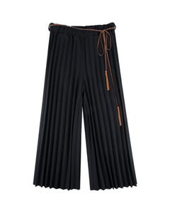 PANT BLACK PLEATED CHIFFON BROWN TIE BELT WITH TASSEL