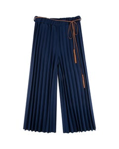 PANT NAVY PLEATED BROWN TIE BELT WITH TASSEL