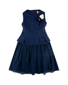 DRESS NAVY PLEATED BODICE TULLE SKIRT ROSES TRIM