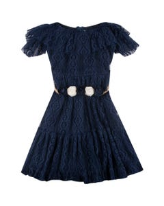 DRESS NAVY LACE FLOWER BELT