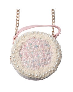 PINK PURSE PEARL CIRCULAR TWEED