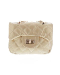 GOLD QUILTED PURSE WITH CHAIN