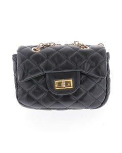 BLACK QUILTED PURSE WITH CHAIN