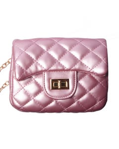 PINK QUILTED PURSE WITH CHAIN