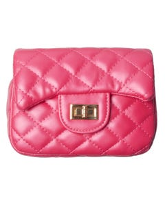 FUCHSIA QUILTED PURSE WITH CHAIN