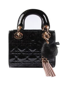 BLACK TOP HANDLE QUILTED GOLD CHAIN PURSE