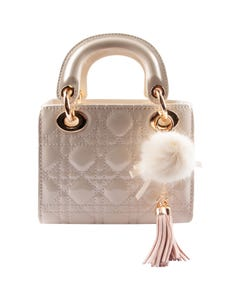 IVORY TOP HANDLE QUILTED GOLD CHAIN PURSE