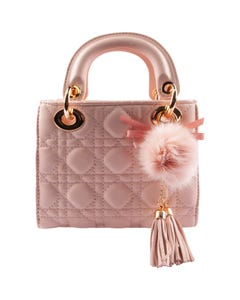 PINK TOP HANDLE QUILTED GOLD CHAIN PURSE