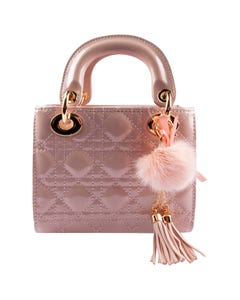 PINK GLOSS TOP HANDLE QUILTED GOLD CHAIN PURSE