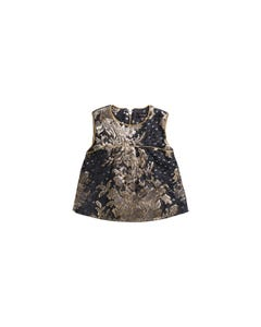 TOP & SHORT SET NAVY & GOLD BROCADE