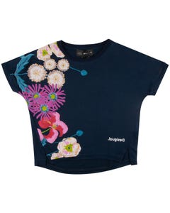 TSHIRT NAVY MULTI FLORAL PRINT SHORT SLEEVE