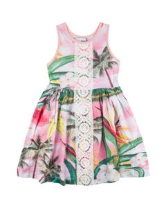 DRESS GVK30 PINK PALM TREE PRINT LACE LIKE FRONT TRIM