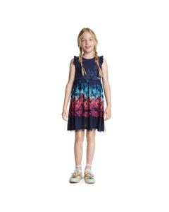 DRESS NAVY BUTTERFLY PRINTED TULLE MULTICOLORED