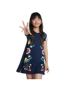 DRESS NAVY MULTI FLORAL PRINT JERSEY SHORT SLEEVE