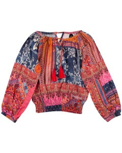 BLOUSE MULTI COLORED LONG SLEEVE ELASTIC WAIST