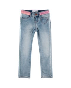 PANT LIGHT DENIM HEART POCKET SILVER SIDE STRIPE
