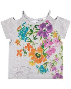 TSHIRT GREY MULTI FLOWER PRINT SHORT SLEEVE