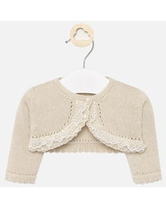 CARDIGAN GOLDEN LACE TRIM BOLERO