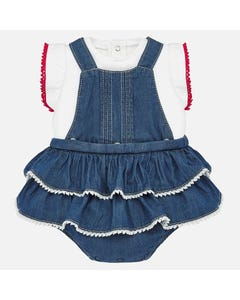 2 PC TSHIRT & OVERALL DENIM & WHITE REMOVABLE FRONT