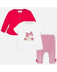 3 PC LEGGING SET RED & WHITE DOT PRINT LEGGING