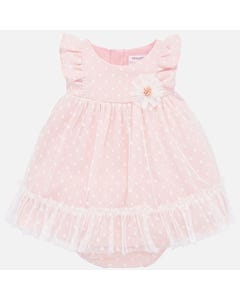 DRESS & PANTIES PINK WHITE DOT TULLE LAYER