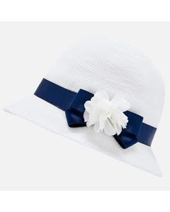 STRAW HAT WHITE NAVY TRIM