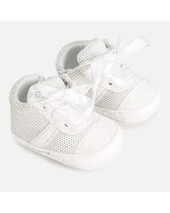 SHOE WHITE TRAINERS SILVER SPARKLE LACE TIES