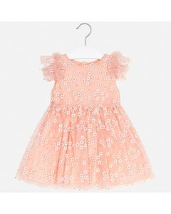 DRESS PEACH DAISY EMBROIDERED TULLE