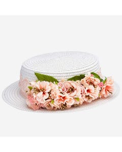 STRAW HAT PEACH FLOWER TRIM WHITE