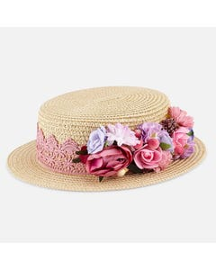 STRAW HAT MULTI COLORED FLOWER TRIM