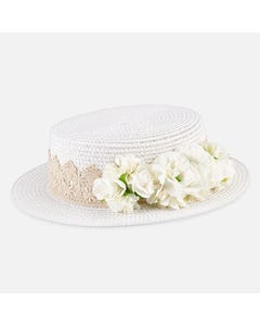STRAW HAT WHITE GUIPER FLOWERS TRIM