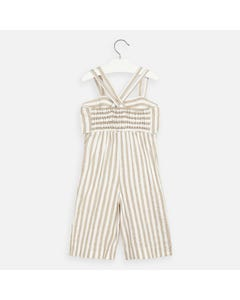 JUMPSUIT WHITE & BEIGE STRIPE