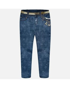 LEGGING BLEACHED DENIM LOOKHEART IMITATION POCKET