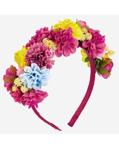 HEADBAND HARD MULTI COLORED FLOWER TRIM
