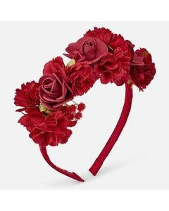 RED HEADBAND FLOWER TRIM