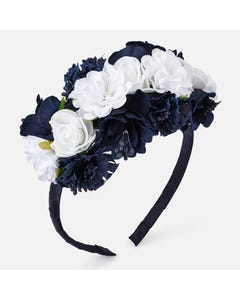 NAVY HEADBAND HARD FLOWER TRIM