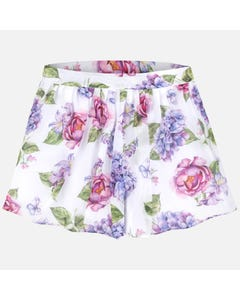 SKIRT SHORT WHITE FLORAL PRINT ORGANZA