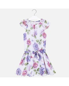 DRESS & BELT WHITE FLORAL PRINT GAUZE
