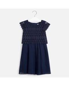 DRESS NAVY GUIPER & PLEATED SKIRT