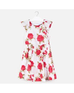 DRESS RED & WHITE FLORAL PRINT VOILE