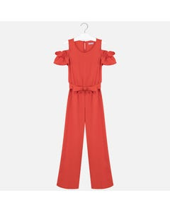 JUMPSUIT RED PIQUE LONG