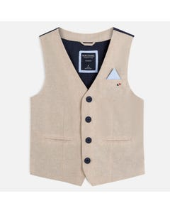 VEST LINEN BEIGE NAVY TRIM & BACK PANEL