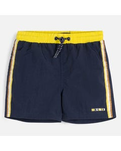 SWIM SUIT NAVY YELLOW WAIST TRIM & STRIPE