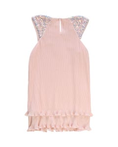DRESS PINK PLEATED CHIFFON SEQUIN TRIM