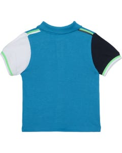 POLO TOP TURQUOISE WHITE & NAVY SHORT SLEEVE