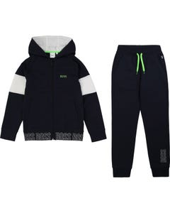 2 PC TRACKSUIT NAVY HOODED WHITE TRIM