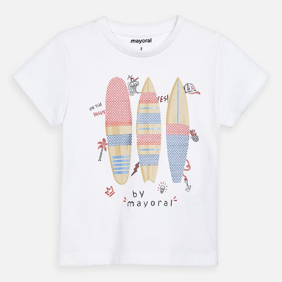 TSHIRT WHITE 3 SURFBOARD WITH SEQUIN TRIM