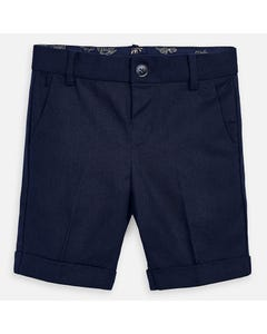 SHORT NAVY LINEN TAILORED